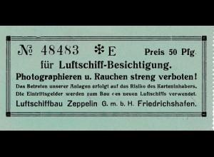 Eintrittskarte Luftschiff Besichtigung Friedrichshafen - 30er Jahre