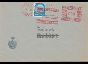 Sieger Brief 1933 aus Lorch mit Zeppelin im Freistempel