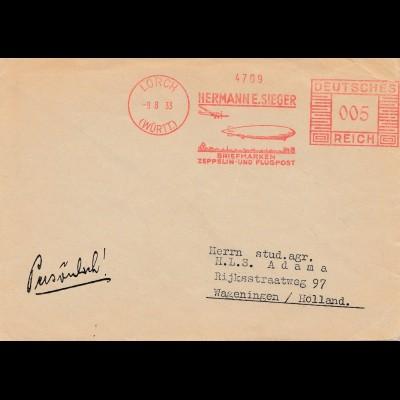 1933: Sieger Brief aus Lorch mit Zeppelin im Freistempel