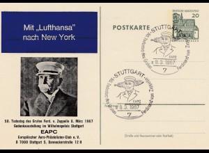 1967: Sonderstempel Stuttgart: 50. Todestag Zeppelin - Ganzsache