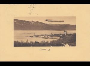1909: Ansichtskarte Lindau Bodensee mit Zeppelin
