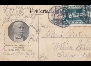 1909: Ansichtskarte Plauen/ Vogtland mit Zeppelin über Plauen