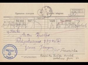 1943: Telegramm Werschetz, Kryillische Schrift: FPNr. 43476D
