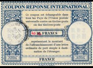 Internationaler Antwortschein 1953: Cha... Salins Frankreich