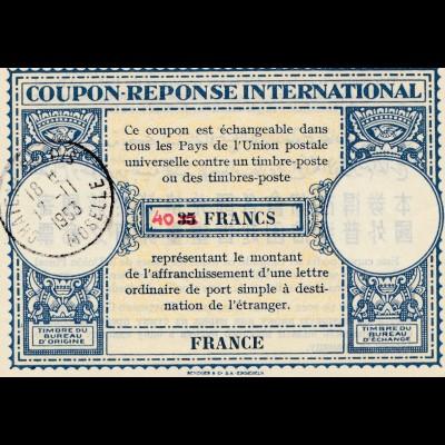 Internationaler Antwortschein 1953: Chatenais Salins/Moselle Frankreich