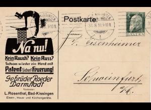 Ganzsache: Schornsteinfeger, Russ, Darmstadt 1911