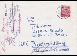 Brief 1958 von Ludwigsburg nach Braunschweig - Ermittlung des Absenders geöffnet