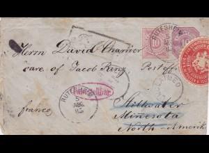 Ganzsache 1885 von Rutesheim nach USA. Zurück - amtlich geöffnet