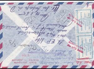 Brief Luftpost von Nürnberg 1965 nach Berlin-zurück-Ermittlung Absender