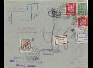 Brief 1926 von Zwickau in die Schweiz-zurück-amtlich geöffnet-Nachtax-gestrichen