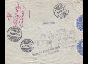 Brief 1908 Annaberg nach Rheinau und zurück-Brief geöffnet Absenderermittlung