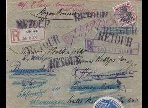 Brief 1913 Güstrow nach Buenos Aires und zurück-Amtlich geöffnet-Absender