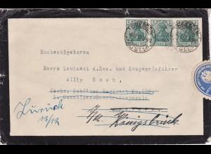 Brief 1918 von Dresden nach 1. MG Kompanie - zurück, amtlich geöffnet-Absender