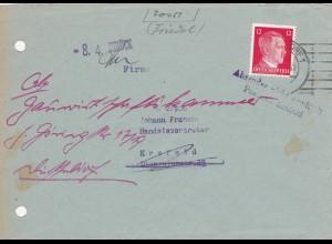 Brief von Düsseldorf 1944 nach Krefeld: Amtlich geöffnet RPD Düsseldorf