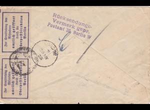 Brief 1928 von Berlin nach London und zurück-amtlich geöffnet-Absender