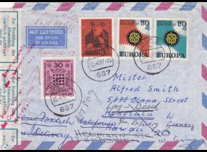 Brief 1967 von Hof nach USA_Hawaii und zurück - amtlich geöffnet-Absender Nrbg