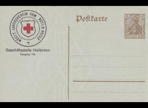 Ganzsache Germania: Württ. Landesverein vom Roten Kreuz - Heilbronn