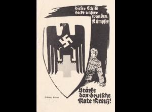 Propagandakarte Rotes Kreuz 1940: Dieses Schild deckt unsere wunden Kämpfer