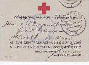 Niederlande: Kriegsgefangenenpost-Rotes Kreuz 1944 - Zentralnachweisbüro