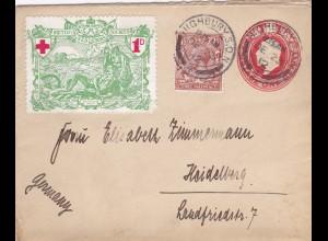 British Red Cross 1923 - Ganzsache - to Germany-Heidelberg