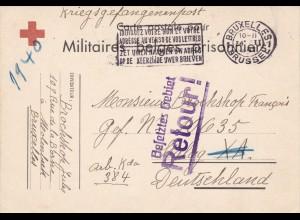 Belgien: Kriegsgefangenenpost 1940 Brüssel nach Stalag XA-Zurück