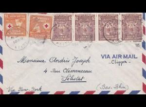 Haiti - Rote Kreuz Marken nach Selestat 1954