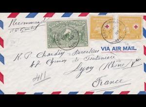 Haiti - Rote Kreuz Marken nach Frankfreich 1950