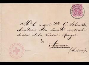Niederlande: 1896 sGravenhage in die Schweiz-Aarau-Rotes Kreuz