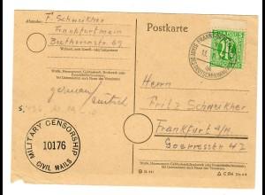 Ortspostkarte Frankfurt/M 13.7.45, Military Censor MiNr. 3