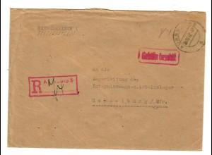 1947 Gebühr bezahlt, Einschreibebrief Augsburg nach Hammelburg Interniertenlager