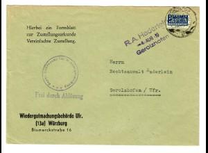 1950 Wiedergutmachungsbehörde Würzburg nach Gerolzhofen