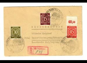 1946 Einschreiben Tegernsee nach Untertiefengrün: Opfer des Faschismusfen