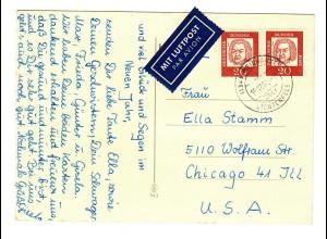 1967 Luftpost Postkarte Weidhausen/Lichtenfels nach USA