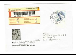 Einschreiben Pottmes nach Bad Mergentheim, 450 Pfg, EF