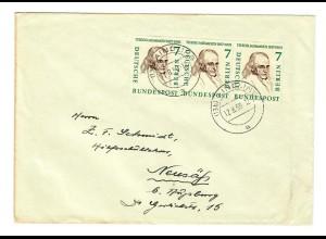 1959 Brief Aindling mit MeF der 7 Pfg. nach Neusäß