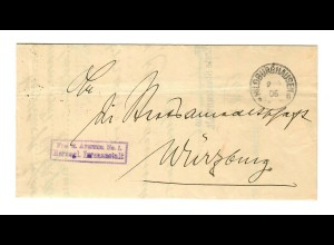 1906 Frei Herzogliche Irrenanstalt Hildburghausen nach Würzburg mit Text