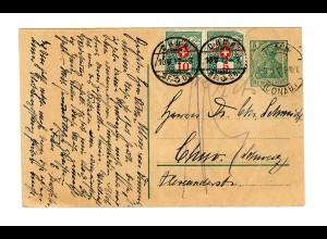 Ganzsache 1912 von Ulm nach Chur/CH mit Nachporto