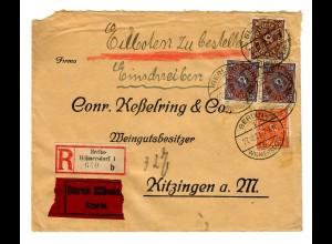 Einschreiben Eilboten Berlin/Wilmersdorf nach Kitzingen 1922