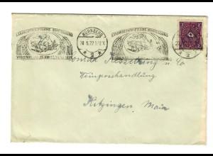 Brief 1922 Nürnberg, Landwirtschaftliche Ausstellung, an Weinhandlung Kitzingen