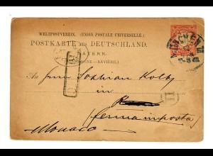 Ganzsache München 1880 nach Monaco