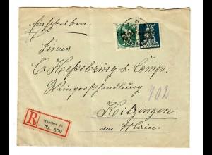 Einschreiben von München 1920 nach Kitzingen