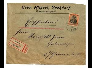 Einschreiben Vachdorf / Schweinemetzgerei nach Ostheim /Rhön 1907