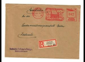 Einschreiben Freiburg mit Freistempel nach Karlsruhe 1943