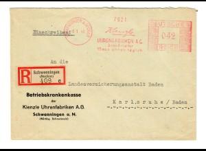 Einschreiben Schwenningen/N, Kienzle Uhrenfabrik nach Karlsruhe 1943