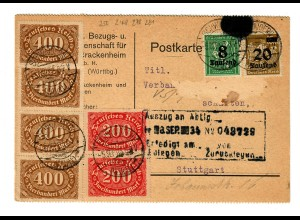 Postkarte von Schwaigern nach Stuttgart 1923
