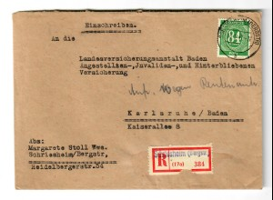 Einschreiben Schriesheim/Bergstr. nach Karlsruhe 1947