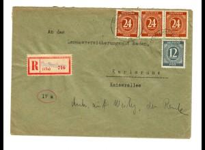 Einschreiben Hoffenheim/Sennsheim/Baden nach Karlsruhe 1947