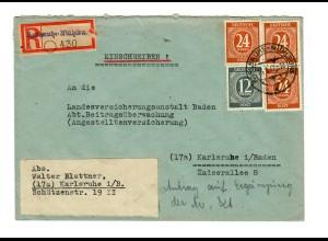 Einschreiben Karlsruhe Mühlburg nach Karlsruhe 1947