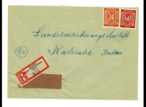 Einschreiben Zimmern/Taberbischofsheim nach Karlsruhe 1947