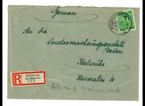 Einschreiben Billigheim/Mosbach nach Karlsruhe 1947